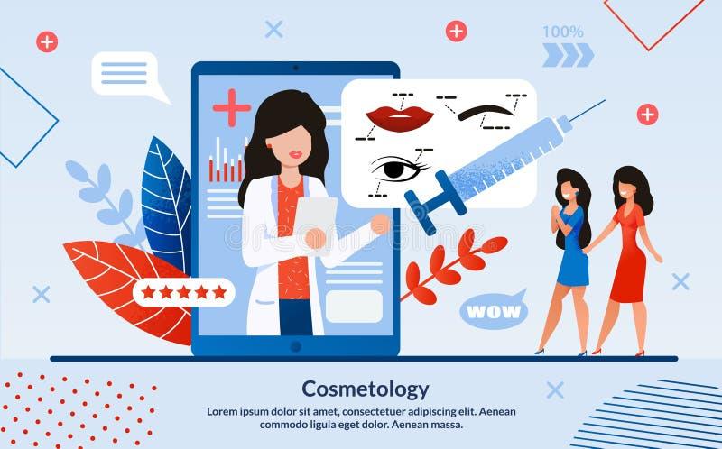 Werbeplakat ist das geschriebene Kosmetologie-Flat lizenzfreie abbildung