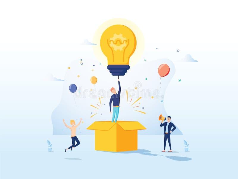 Werbetexter-Creative Idea Landing-Seite Gesch?fts-Kreativit?ts-Konzept f?r Website oder Webseite Blog-Werbungs-Karikatur vektor abbildung