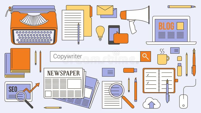 Werbetexter, Journalist und Blogger vektor abbildung