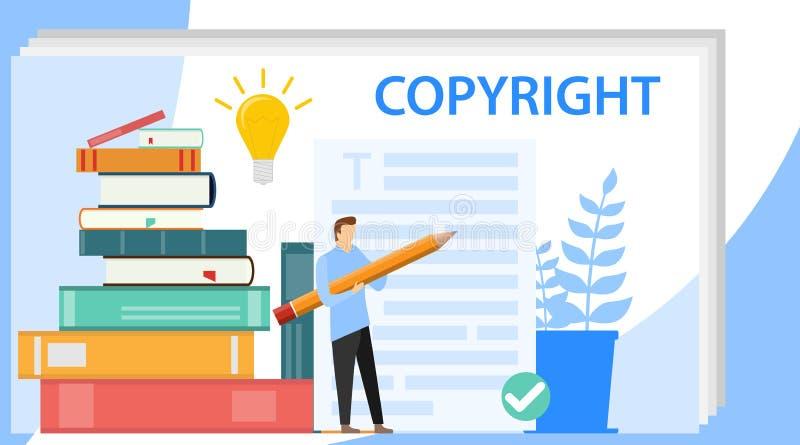 Werbetexterkonzept Werbetexter schreibt Idee von Schreibenstexten, -kreativit?t und -f?rderung Herstellung des wertvollen Inhalts stock abbildung