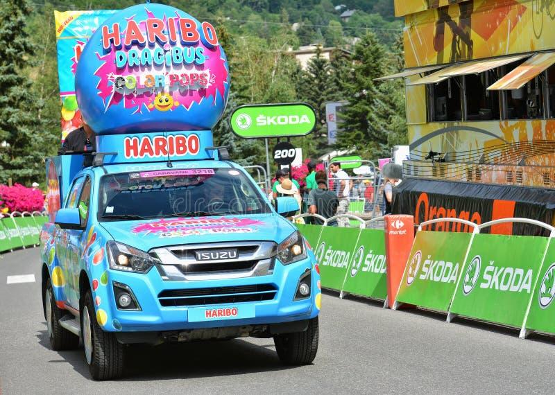 Werbewohnwagen, Tour de France 2017 stockbilder