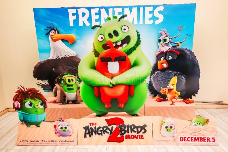 Werbung Dekoration für den Film Angry Birds 2 einer Computer-lebhaften Filmkomödie basiert auf Angry Birds Rovio-Unterhaltung lizenzfreie stockfotografie