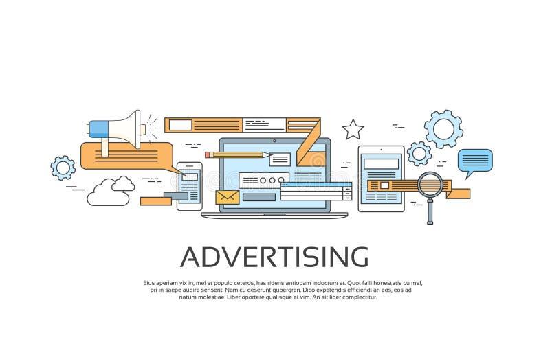 Werbung der on-line-Netz-Fahnen-Konzept-Internet-Technologie vektor abbildung