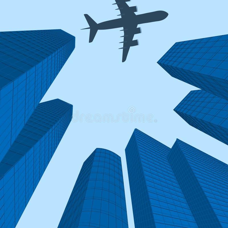 Werbung der Reise Der Kremlin wird im Fluss reflektiert Flugzeug über moderner Stadt Abbildung lizenzfreie abbildung