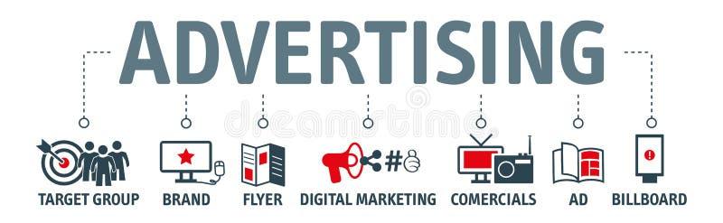 Werbung des Vektorillustrationskonzeptes mit Ikonen stock abbildung