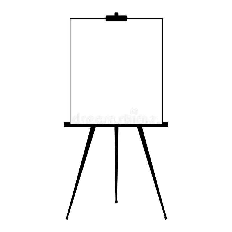 Werbung die Stand- oder Flip-Chart oder leeres Künstlergestell lokalisiert auf weißem Hintergrund Leeres weißes Brett der Darstel lizenzfreie abbildung