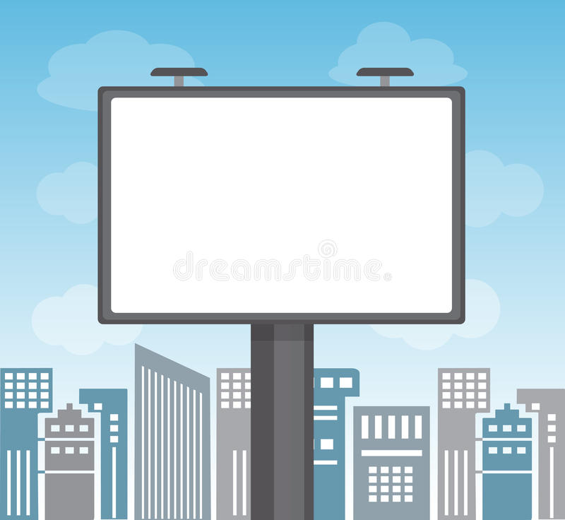 Werbung in einer Großstadt stock abbildung