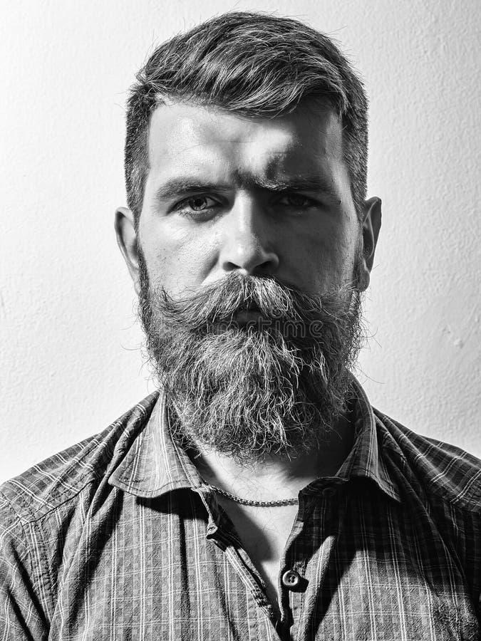 Werbung für Friseursalon Bärtiger Mannhippie des Stirnrunzelns lizenzfreies stockfoto