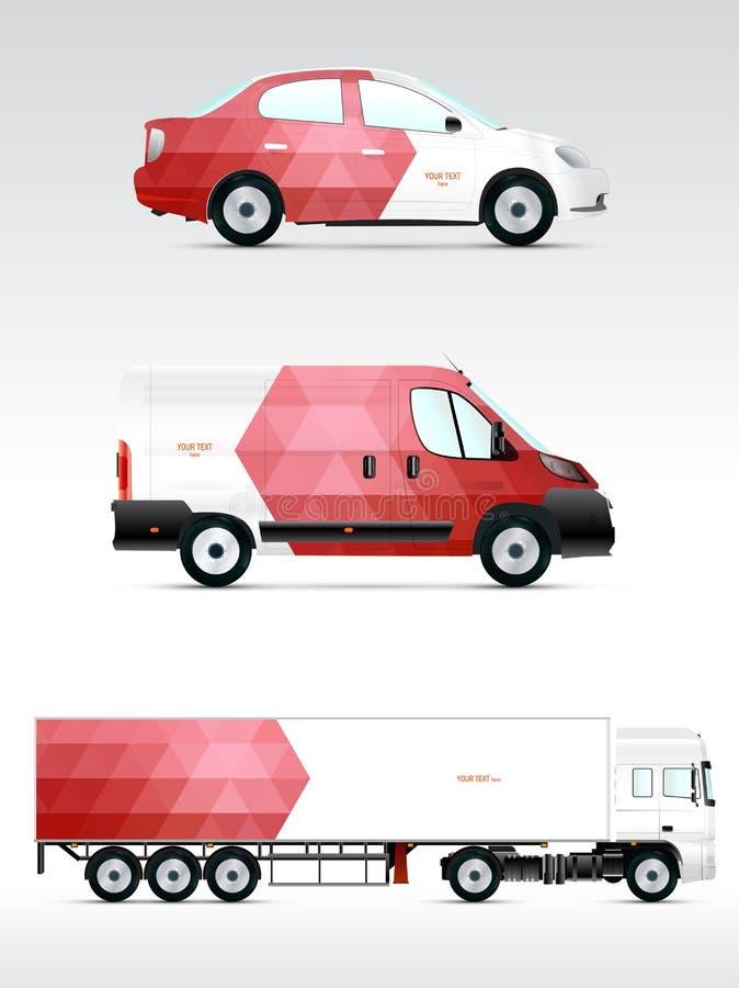 Werbung im Freien der Schablone oder Unternehmensidentitä5 auf dem Auto, der Anschlagtafel und dem citylight Für Geschäft Brandin vektor abbildung