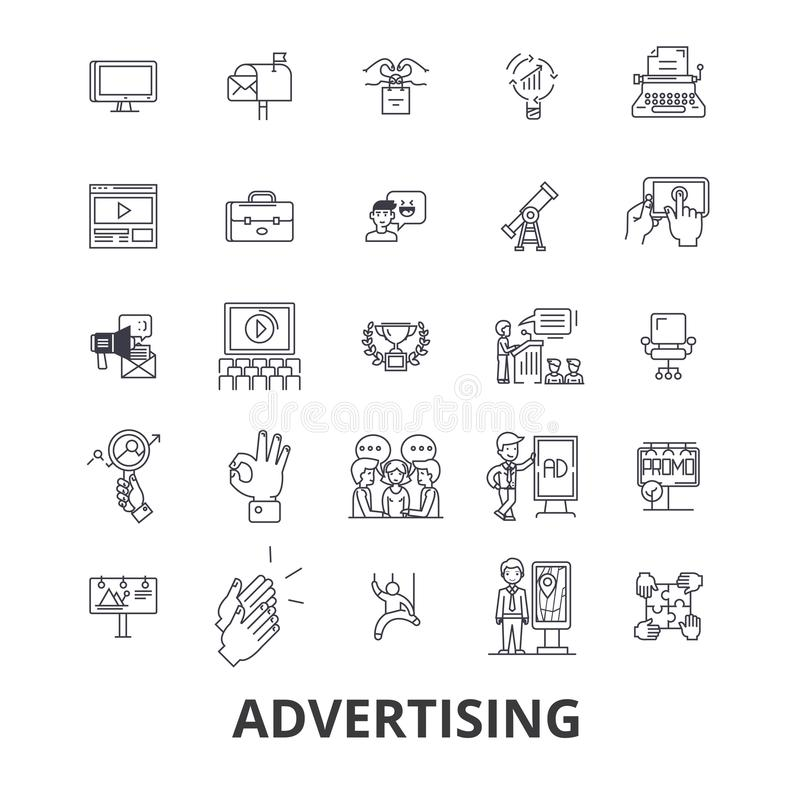 Werbung, Marketing, Medien, soziales, Anschlagtafel, Nachrichten, Fernsehen, Brandinglinie Ikonen Editable Anschläge Flaches Desi stock abbildung