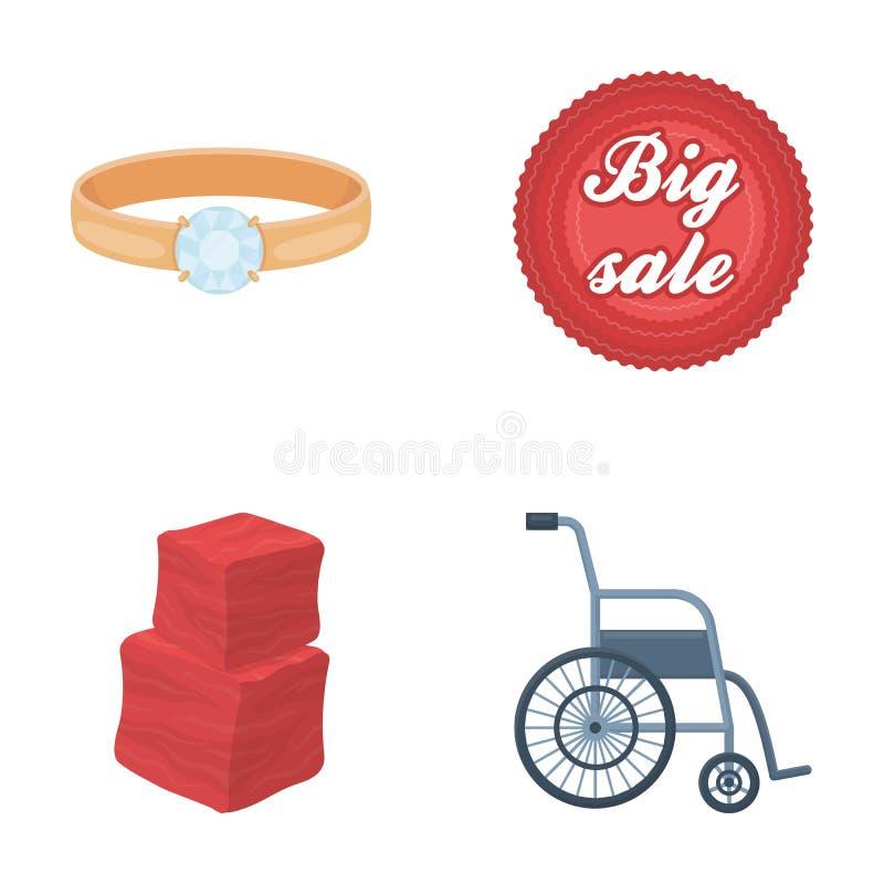 Werbung, Medizin, Handel und andere Netzikone in der Karikaturart Krankenhaus, Bequemlichkeit, Geschäft, Ikonen im Satz lizenzfreie abbildung