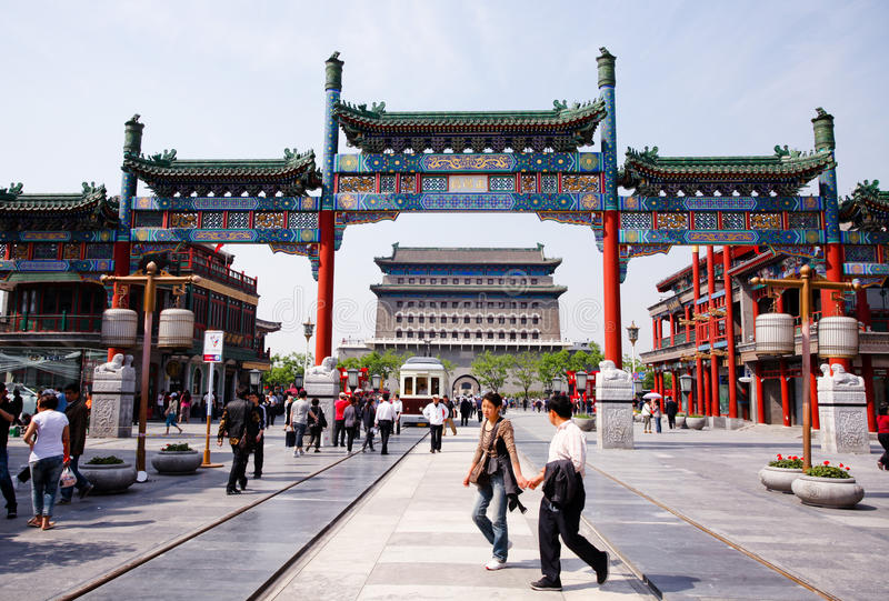 Werbung Streetã Peking-Qianmen lizenzfreies stockbild