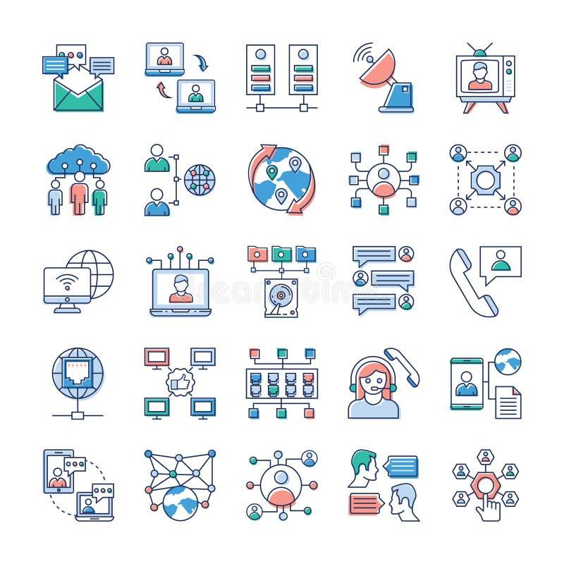 Werbungs-, Kommunikations-und Vernetzungs-Ikonen rollen zusammen vektor abbildung