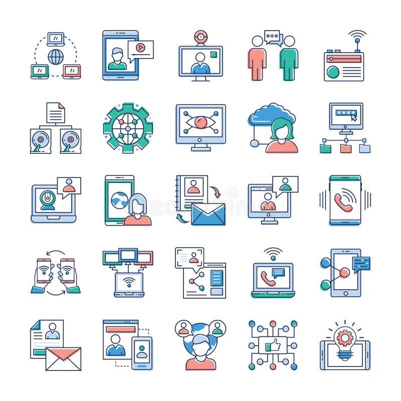 Werbungs-, Kommunikations-und Vernetzungs-Ikonen-Sammlung vektor abbildung