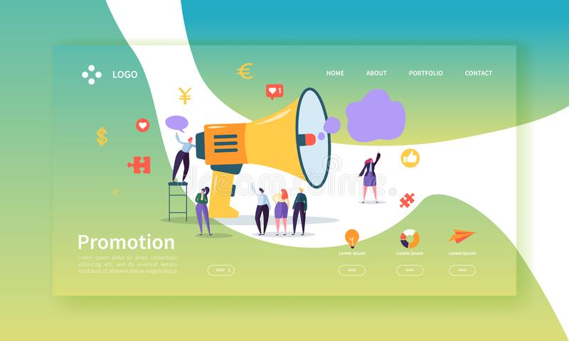 Werbungs-und Förderungs-Landungs-Seiten-Schablone Promo-Marketing-Website-Plan mit flachem Leute-Charakter-Megaphon vektor abbildung