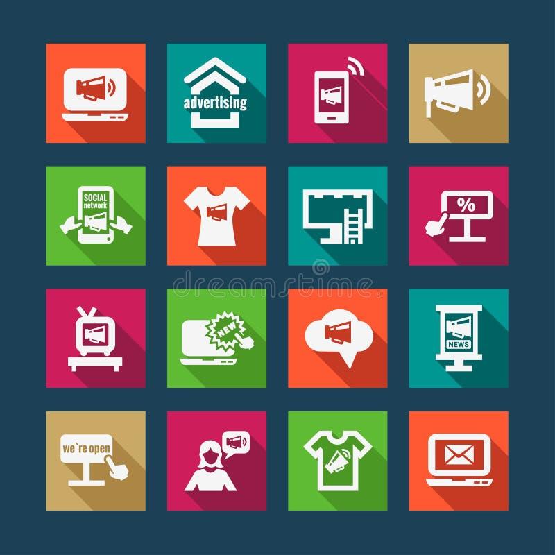 Werbungs- und Marketing-Ikonen lizenzfreie abbildung