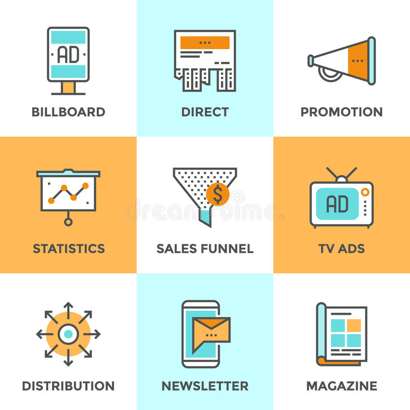 Werbungs- und Marketing-Linie Ikonen eingestellt stock abbildung