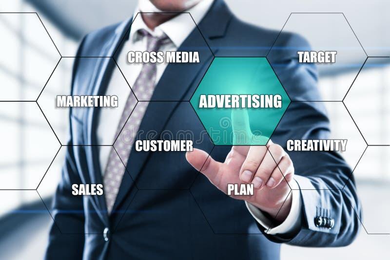 Werbungs-Vermarktungsplan-Brandingkonzept auf den Hexagonen und transparenten dem Bienenwabenstrukturdarstellungsschirm lizenzfreie stockfotos
