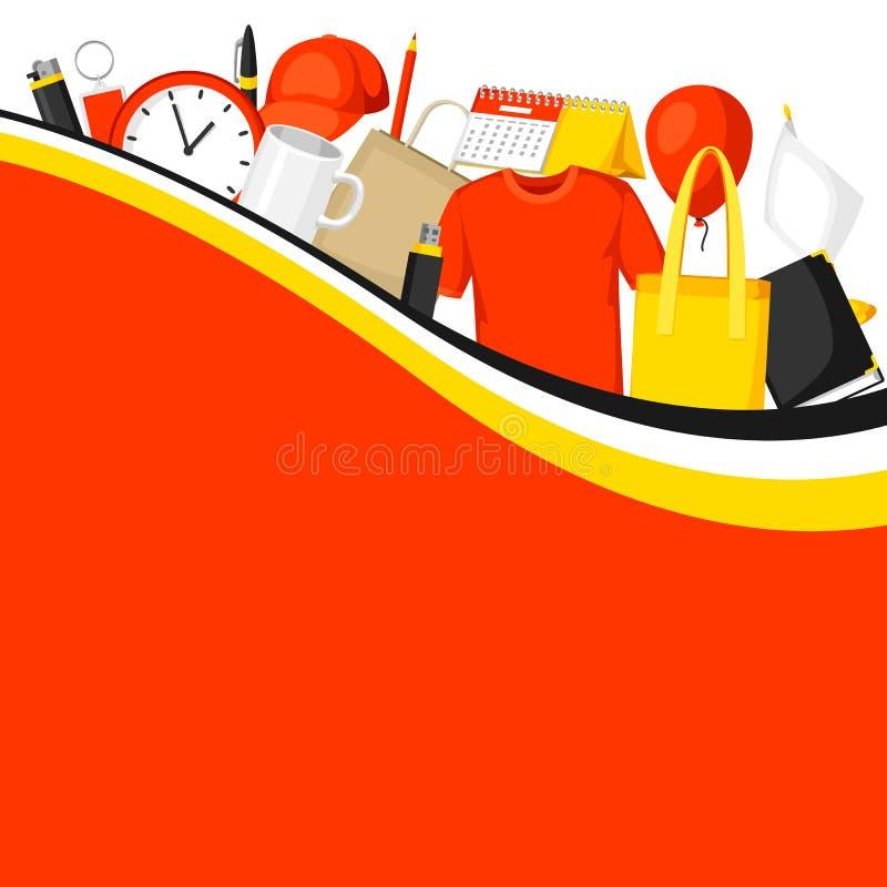 Werbungshintergrund mit fördernden Geschenken und Andenken stock abbildung