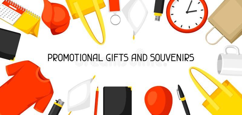 Werbungshintergrund mit fördernden Geschenken und Andenken lizenzfreie abbildung