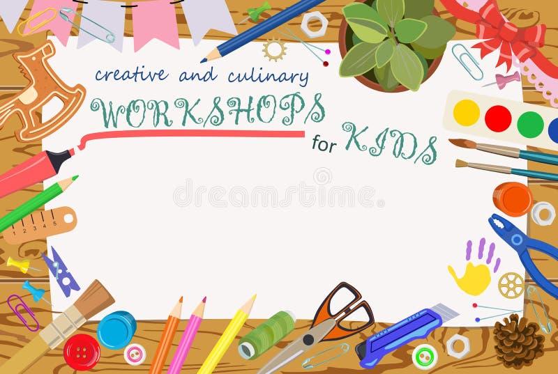 Werbungsschablone: handgemachte und kreative Klassen stockfotos