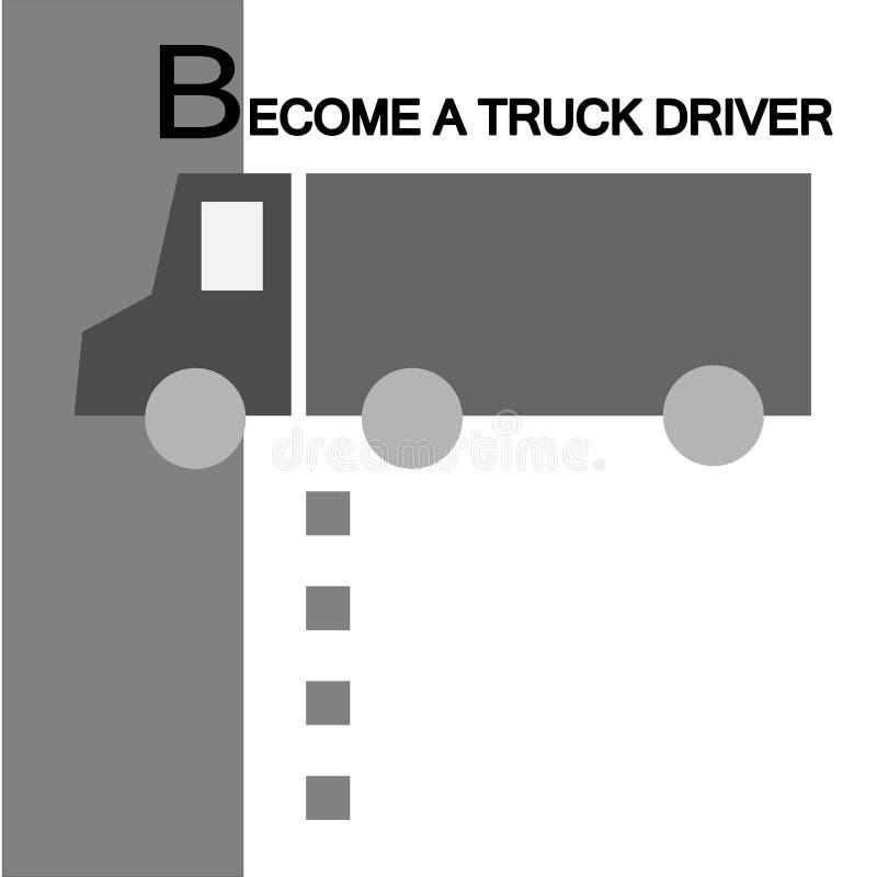 Werden ein LKW-Fahrer Wir stellen an Einfarbige Schablone, die nach Kandidaten für eine freie Stelle einen Fahrer mit leeren Punk stock abbildung