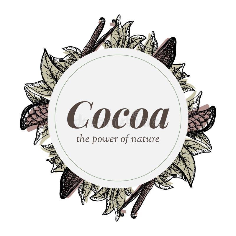 Werden Sie Design mit Kakaobaumelementen und -vanille deutlich vektor abbildung