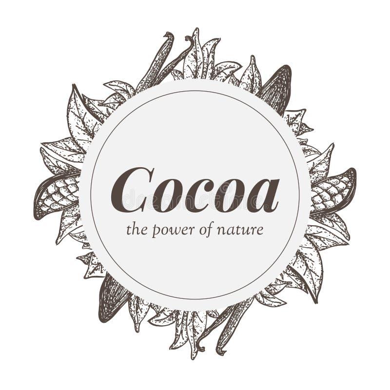 Werden Sie Design mit Kakaobaumelementen und Vanillehülsen deutlich lizenzfreie abbildung