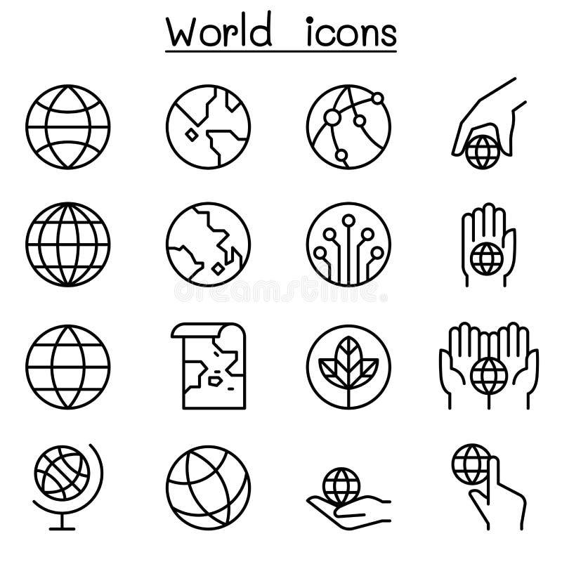 Wereld, Aardepictogram in dunne lijnstijl die wordt geplaatst