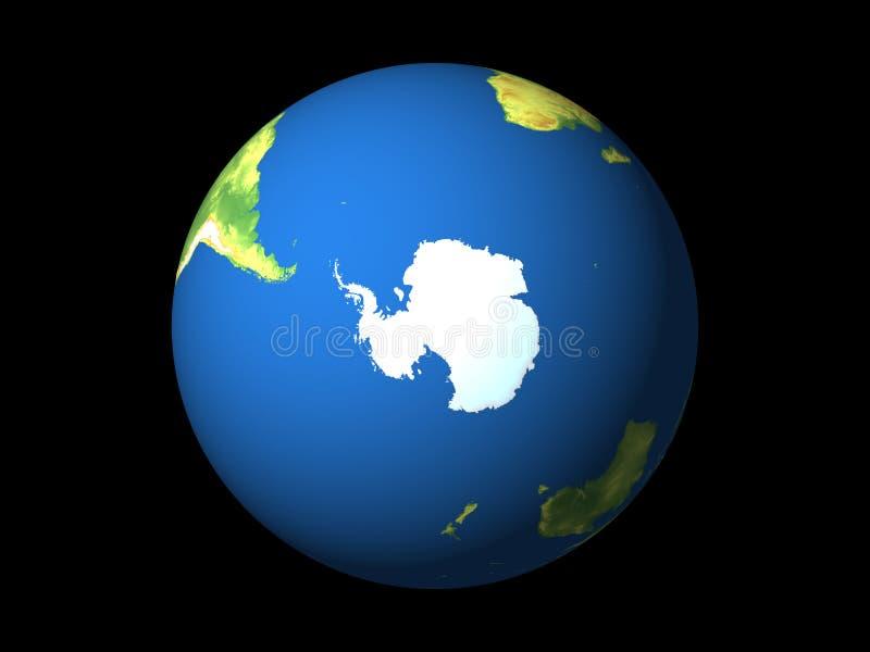 Wereld, Antarctica, zuidelijke hemisfeer vector illustratie