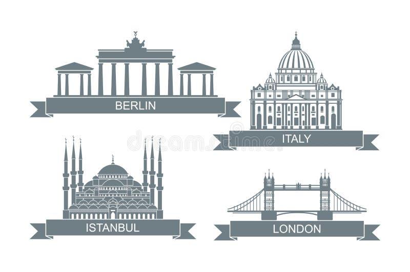 Wereld architecturale aantrekkelijkheden Gestileerde vlakke pictogrammen Oriëntatiepunten in Rome, Londen, Istanboel en Berlijn royalty-vrije illustratie