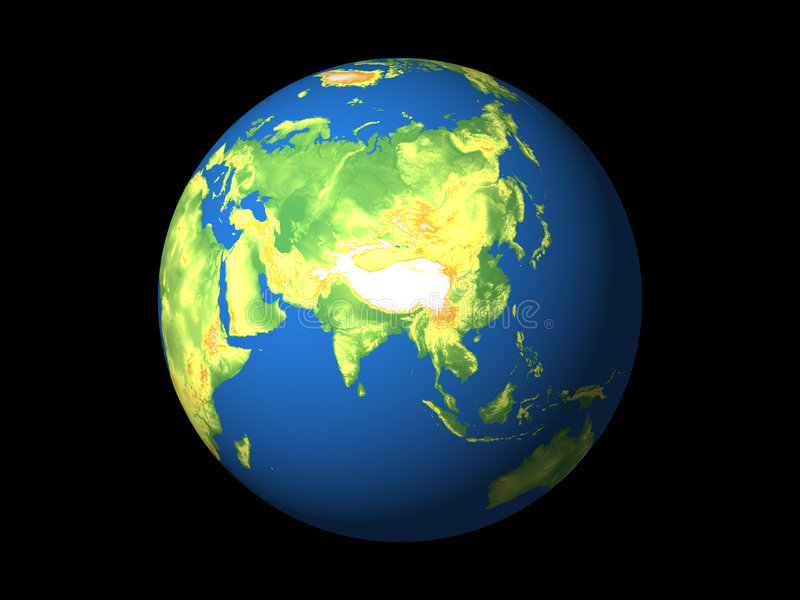 Wereld, Azië stock illustratie
