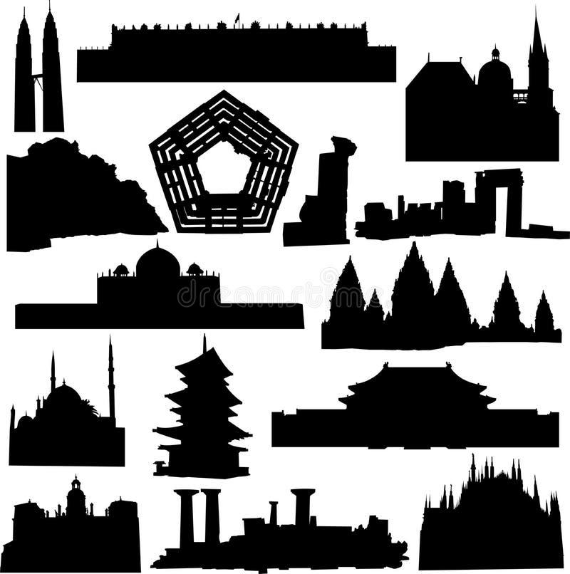 Wereld-beroemde architectuur vector illustratie