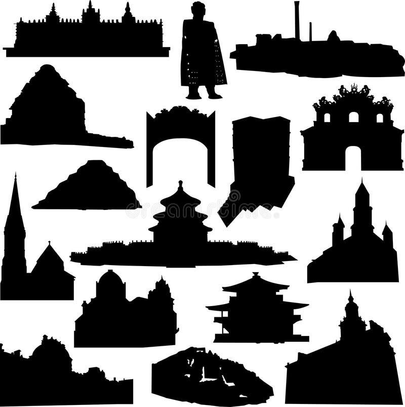 Wereld-beroemde architectuur en overblijfselensilhouet vector illustratie