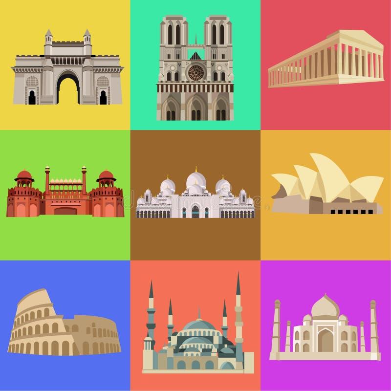 Wereld beroemdste architectuur, kerken, gebouwen vector illustratie