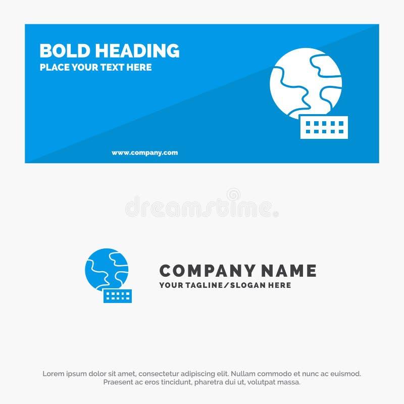 Wereld, Bol, Marketing de Stevige Banner en Zaken Logo Template van de Pictogramwebsite vector illustratie