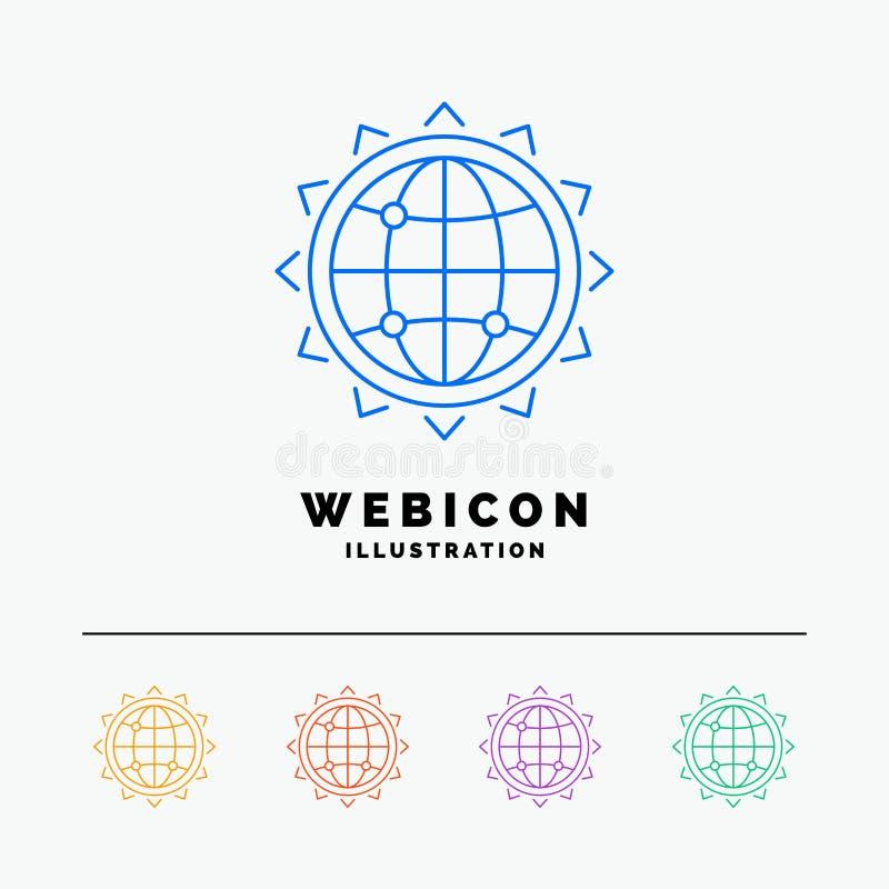 Wereld, bol, SEO, zaken, optimalisering 5 het Pictogrammalplaatje van het Rassenbarrièreweb op wit wordt geïsoleerd dat Vector il stock illustratie