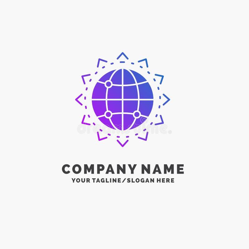 Wereld, bol, SEO, zaken, optimaliserings Purpere Zaken Logo Template Plaats voor Tagline royalty-vrije illustratie