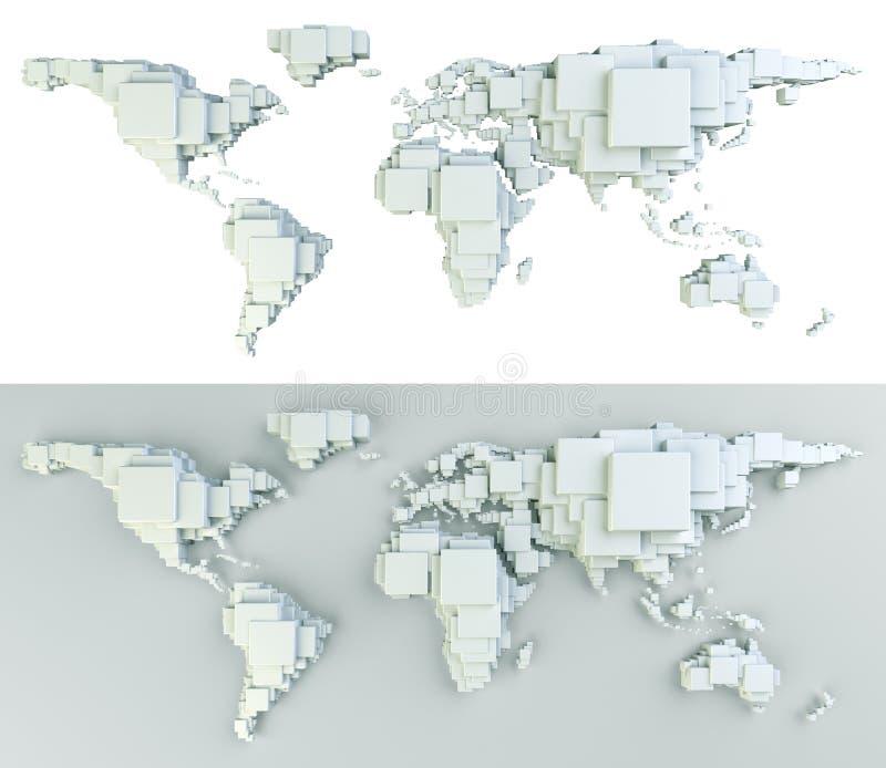 Wereld die in blokken wordt gemaakt vector illustratie