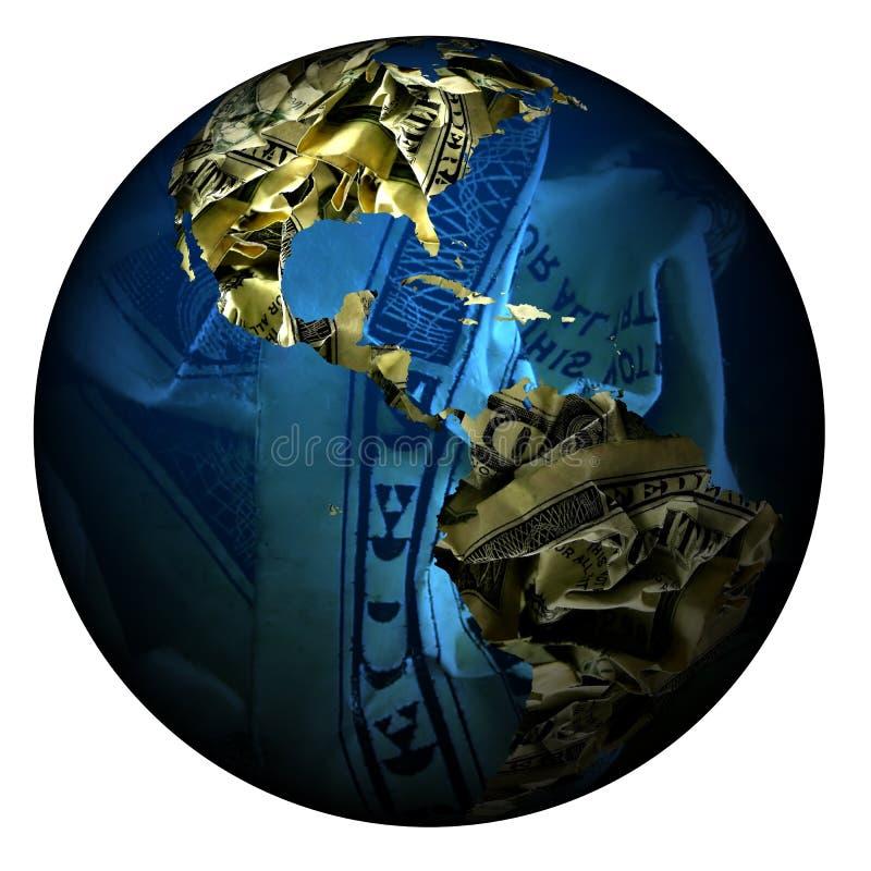 Wereld die van geld wordt gemaakt royalty-vrije illustratie
