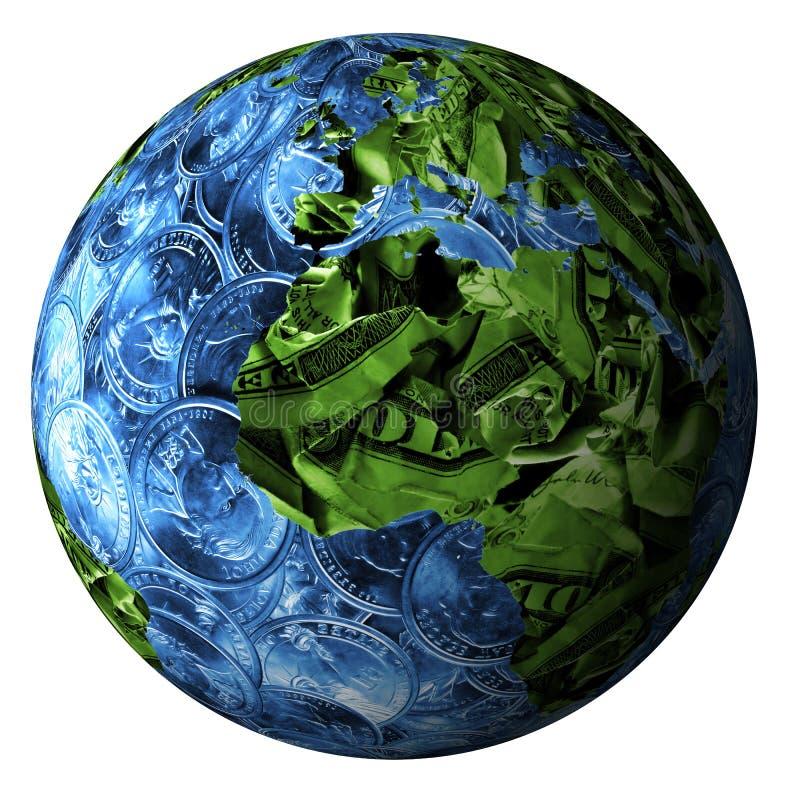 Wereld die van geld wordt gemaakt stock illustratie