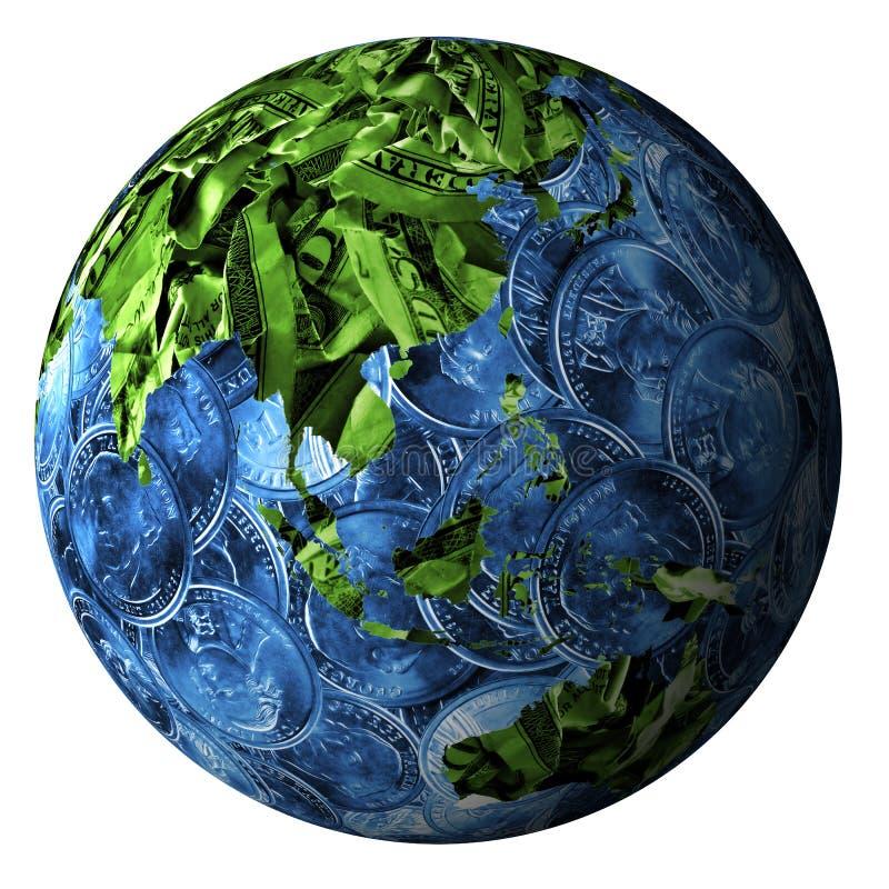Wereld die van geld wordt gemaakt vector illustratie