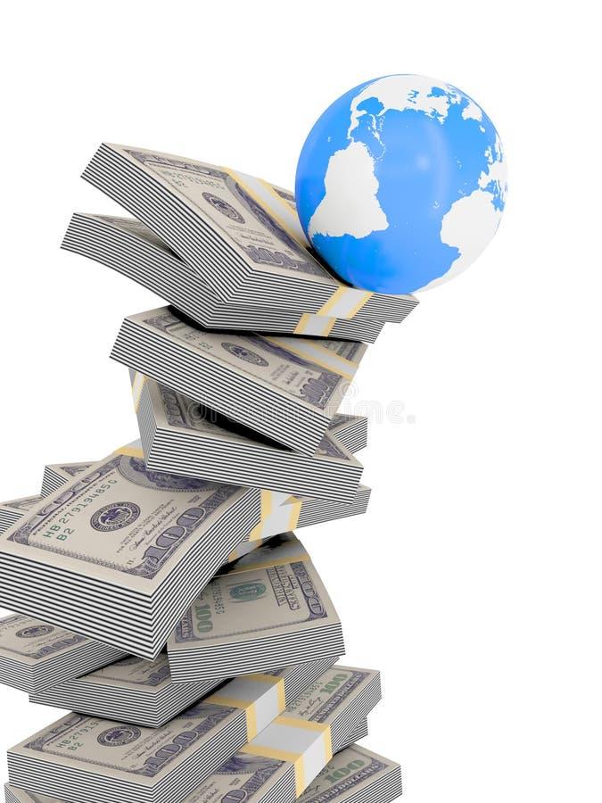 Wereld die van geldstapel valt royalty-vrije illustratie