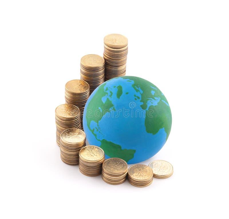 Wereld die zich op geld bevinden royalty-vrije stock fotografie