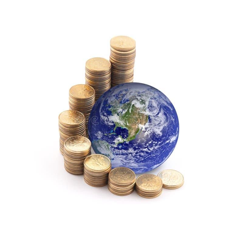 Wereld die zich op geld bevinden royalty-vrije stock afbeeldingen