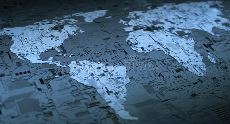 Wereld Digitaal Voorzien van een netwerk royalty-vrije illustratie