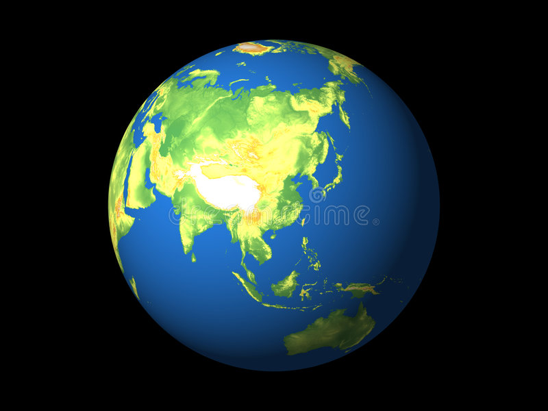 Wereld, e-Azië vector illustratie