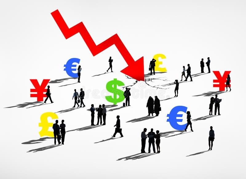 Wereld Financiële Verbrijzeling en Muntenrecessie vector illustratie