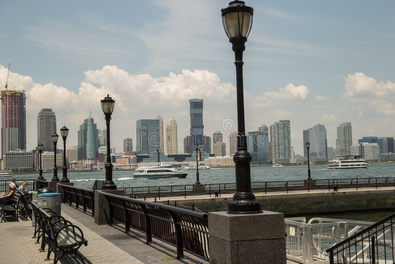 Wereld Financieel Centrum de Stad in van Manhattan van de binnenstad, New York stock afbeelding