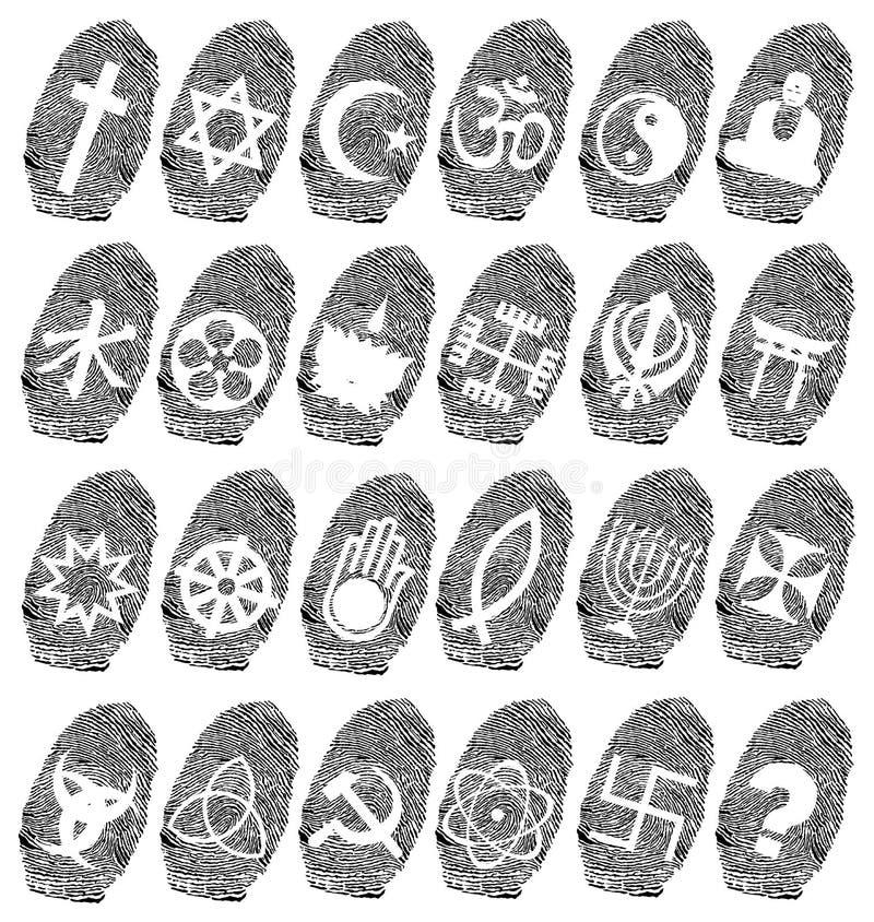 wereld godsdienst en vingerafdruk stock illustratie